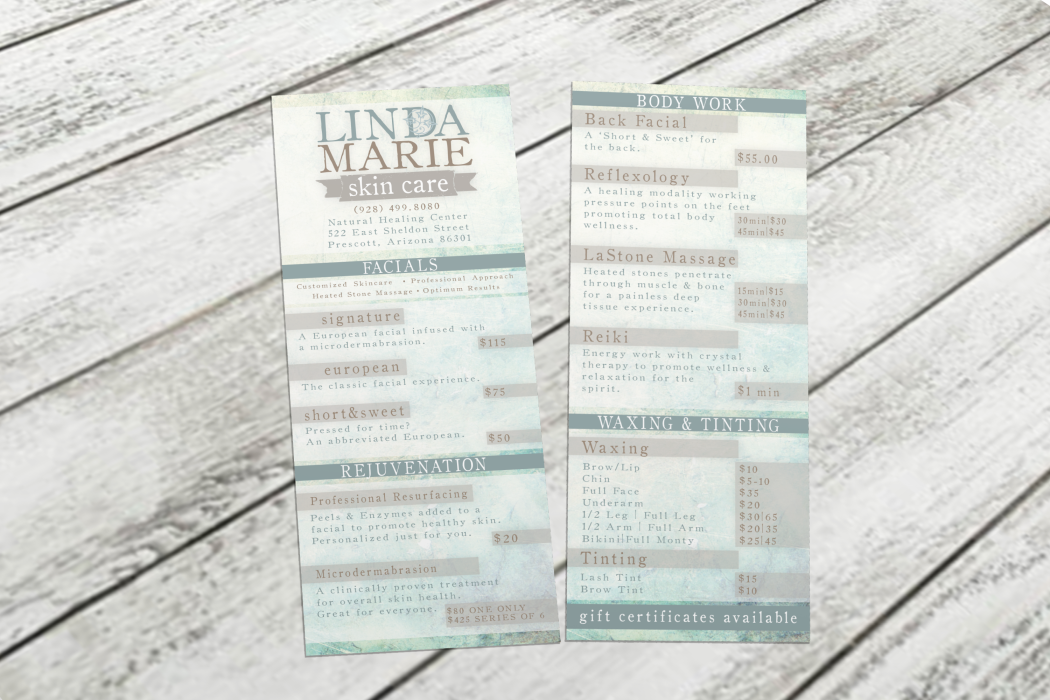 Price Sheet - Linda Marie Skin Care